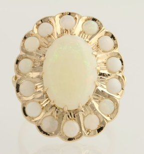 Opal Cocktail Ring - 14k Yellow Gold Oval Floral Halo Genuine Womens 3.73ctw
