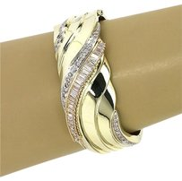 Opulent 14k Yellow Gold Cts Diamonds Ladies Wide Hefty Bangle Bracelet