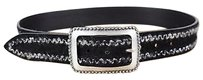 Orciani Womens Multi-colored Textured Belt 85 Leather Silver Buckle