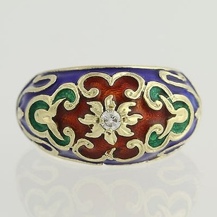 Other Ornate Floral Enamel Ring - 14k Yellow Gold Diamond-accented Genuine .08ctw