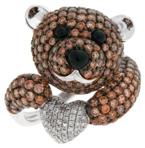 14k,White,Gold,2.50ct,Champagne,Diamonds,And,2.507ct,Black,Onyx,Teddy,Bear,Ring