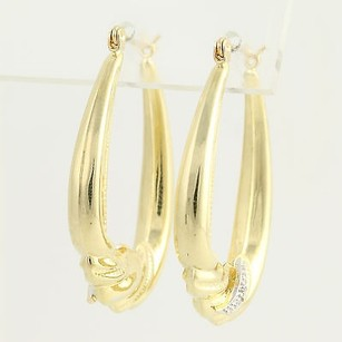 Other Oval Hoop Earrings - 14k Yellow White Gold Pierced Diamond Accents Womens