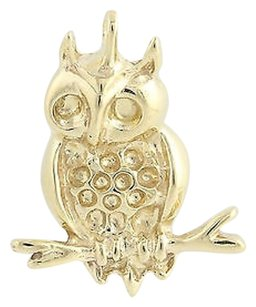 Other Owl Pendant - 14k Yellow Gold Perching Bird Textured