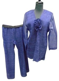 Maria Rodriguez Chicago Royal Purple Casual Rayon Blend Pant Suit 2582a