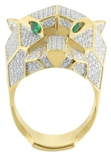 Panther Cheetah Mens Ring Gold Finish Sterling Silver Emerald Eyes Lab Diamonds