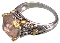 PEACH MORGANITE 925 STERLING SILVER GOLD ACCENT RING