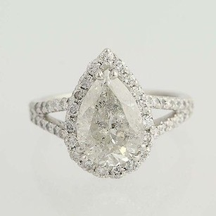 Pear Cut Diamond Ring - Platinum Halo 4.02ctw