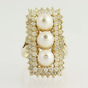 Pearl Diamond Cocktail Ring - 14k Yellow Gold June Gift 1.65ctw
