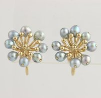 Pearl Flower Earrings - 14k Yellow Gold Blue Iridescent Freshwater Non-pierced