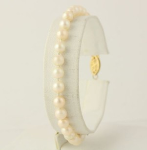 Pearl Strand Bracelet - 14k Yellow Gold Clasp White Cultured Pearls 7.25