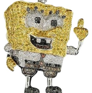 10k Unisex 2.25 Ct Spongebob Cartoon Yellow Diamond Custom Pendant Charm Cross
