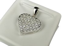 10k White Gold Diamond Locket Designer Heart Pendant Charm 1c