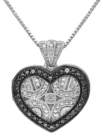 Other Sterling Silver Black Diamond Love Heart Geometric Pendant With Chain