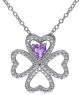 Silver 13 Ct Amethyst Heart 4 Lucky Clover Nature Love Pendant Necklace