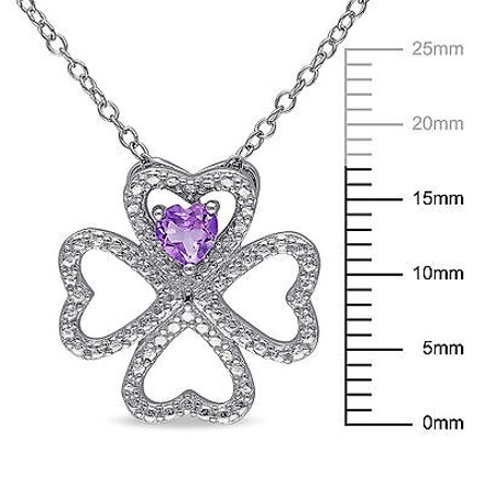 Other Silver 13 Ct Amethyst Heart 4 Lucky Clover Nature Love Pendant Necklace