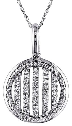 Other 10k White Gold 14 Ct Diamond Tw Fashion Pendant Necklace Gh I2i3