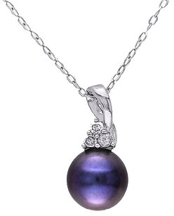 8-8.5 Mm Black Freshwater Pearl Necklace Pendant Chain Silver I3 .07 Ct Diamond