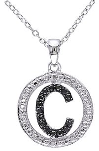 Other Sterling Silver Black Diamnd Initials C Tone Pendant Necklace With Chain