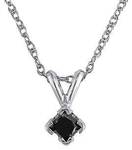 Other 10k White Gold 14 Ct Tdw Black Princess Diamond Vertical Pendant Necklace Chain