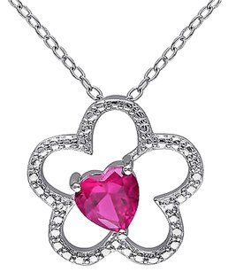 Other Sterling Silver 1 Ct Tgw Created Ruby Flower Nature Heart Love Pendant Necklace