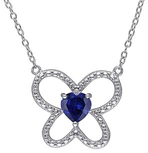 Sterling Silver 1 Ct Blue Sapphire Butterfly Nature Heart Love Pendant Necklace