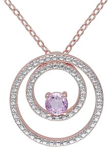 Other Pink Sterling Silver 14 Ct Tgw Rose De France Circle-in-circle Pendant Necklace