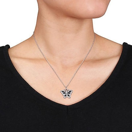 Other Sterling Silver Diamond Fashion Butterfly Pendant Necklace With Chain Gh I3