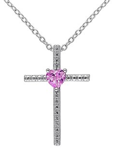 Other Sterling Silver 14 Ct Tgw Pink Sapphire Heart Religious Pendant Necklace