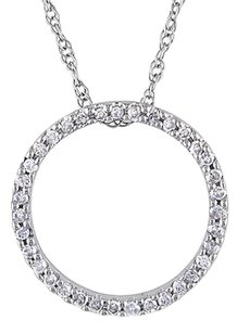 10k White Gold 18 Ct Diamond Tw Circle Pendant Necklace Gh I2i3