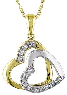 Other 10k White Yellow Gold Diamond Double Love Heart Pendant With Chain Gh I2i3