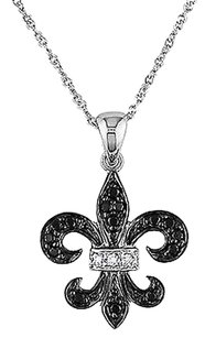 Other 10k White Gold 18 Ct Black White Diamond Pendant Necklace With Chain Gh I1-i2