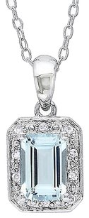 Sterling Silver Diamond 1 Ct Aquamarine Fashion Pendant Necklace With Chain