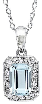 Other Sterling Silver Diamond 1 Ct Aquamarine Fashion Pendant Necklace With Chain