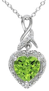 Other Sterling Silver 1.73 Ct Tw Diamond Peridot Heart Love Pendant Necklace