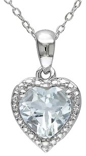 Sterling Silver 1 12 Ct Tgw Aquamarine Heart Love Fashion Pendant With Chain