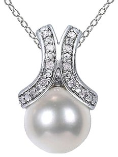 Other Sterling Silver Diamond 8-8.5 Mm White Freshwater Pearl Fashion Pendant Necklace