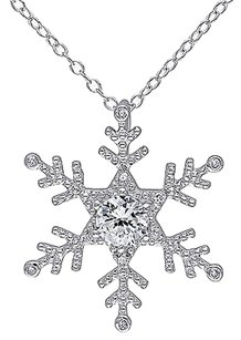 Sterling Silver Diamond 58 Ct White Sapphire Snowflake Pendant Necklace