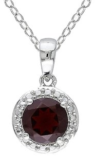 Other Sterling Silver 1 58 Ct Tgw Garnet Fashion Pendant Necklace With Chain