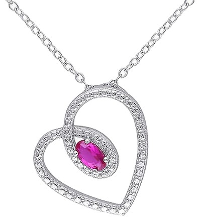 Other Sterling Silver 13 Ct Tgw Created Ruby Fashion Love Heart Pendant Necklace