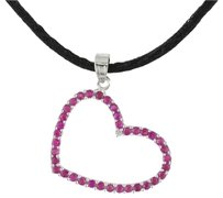 14k White Gold Ruby Diamond Heart Pendant Necklace Silk .76 Ct I-j I2-i3 17