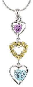 Other Sterling Silver 2 38 Ct Tw Multi Gemstone Three-hearts Pendant Necklace 18
