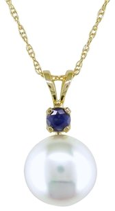 14k Yellow Gold Freshwater Pearl And Sapphire Pendant Necklace 8.0-8.5mm 17
