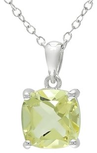 Other Sterling Silver 2 14 Ct Tgw Lemon Quartz Solitaire Pendant Necklace 18