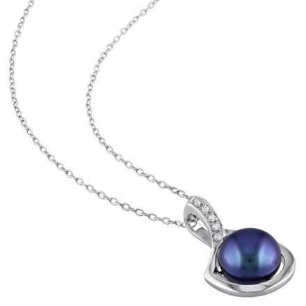 Other Sterling Silver Black Freshwater Pearl And Diamond Necklace Pendent 9-10 Mm 18