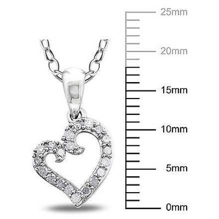 Other Sterling Silver 15 Ct Diamond Tw Heart Love Pendant Necklace With Chain I3