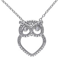 Sterling Silver Diamond Fashion Owl Pendant Necklace With Chain Gh I3