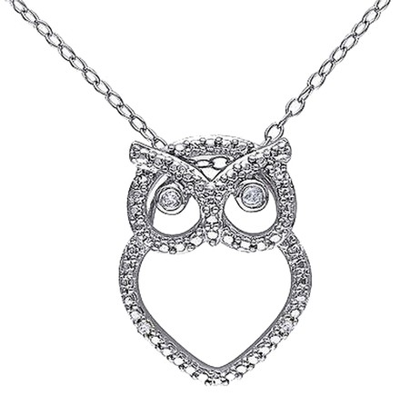 Other Sterling Silver Diamond Fashion Owl Pendant Necklace With Chain Gh I3