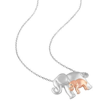 Other Sterling Silver Diamond Fashion Elephants Animal Pendant Necklace Chain Gh I2i3