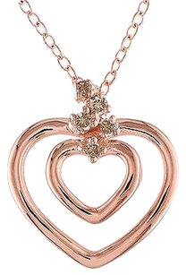 Other Rose Sterling Silver Brown Diamond Tw Heart In Heart Pendant Necklace With Chain