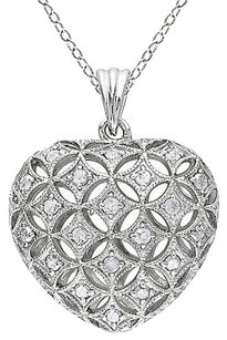 Sterling Silver 12 Ct Diamond Tw Heart Pendant Necklace With Chain 925 I3